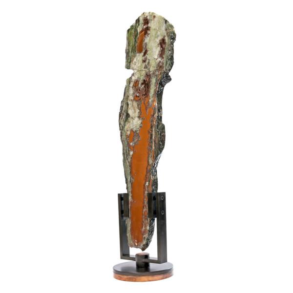 Closeup photo of Native Michigan Copper Vein Slice In Quartz On Custom Rotating Stand