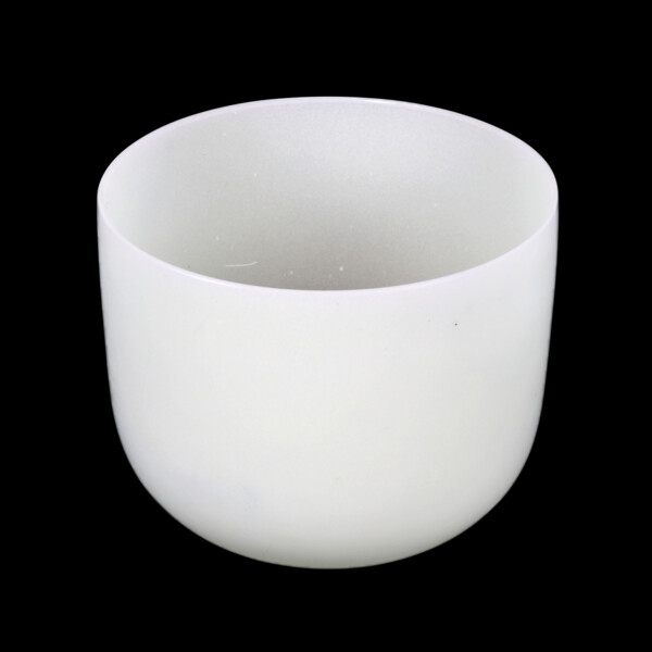 """Closeup photo of 10"""" Frosted Quartz Singing Bowl Note E Perfect"""