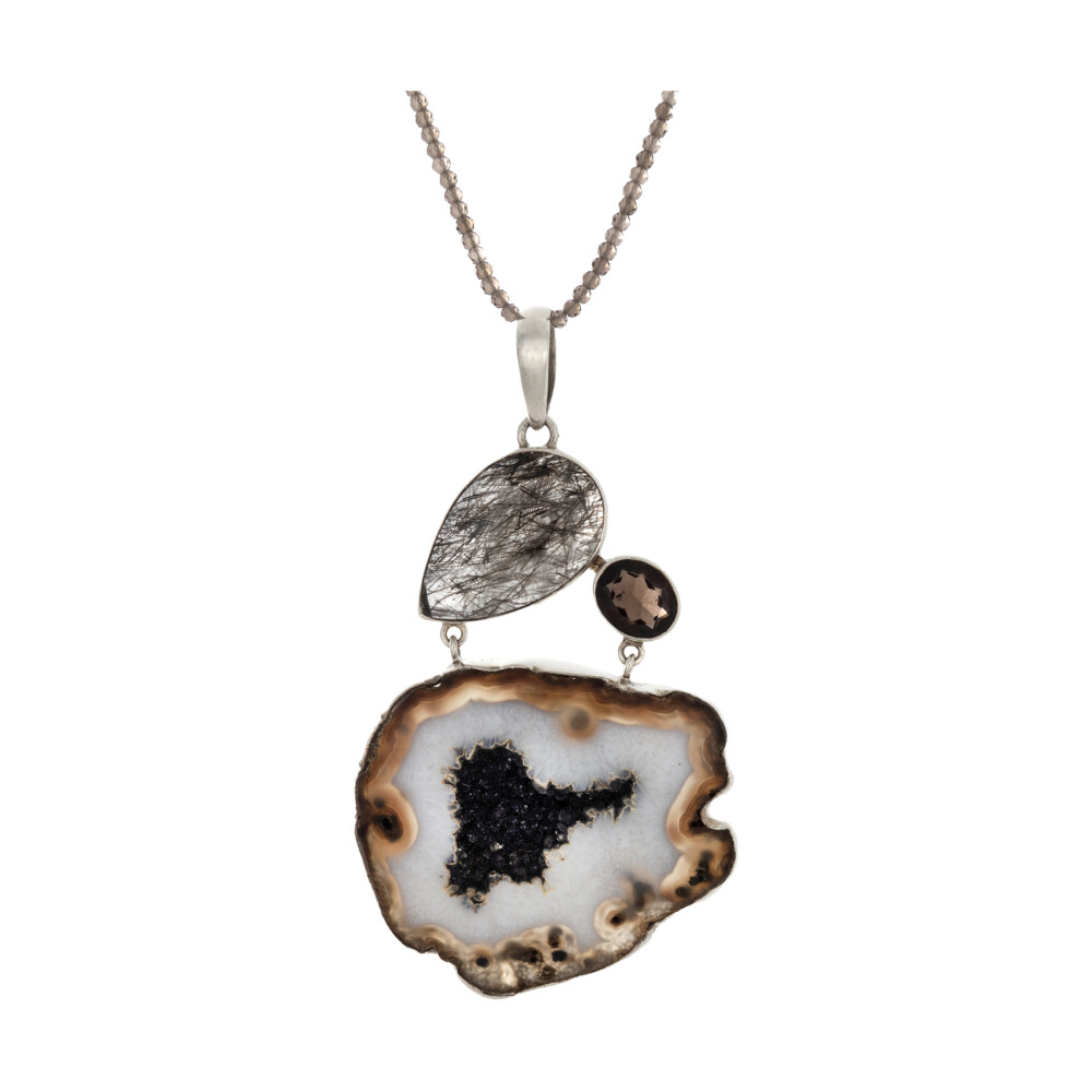 Fawn & White Agate Pendant With Black Druze & Tourmalated Quartz Pear & Smoky Quartz Oval
