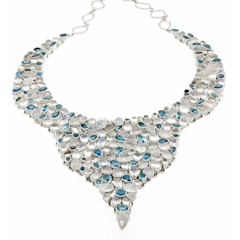 Rainbow Moonstone Necklace Set With Blue Topaz Drops