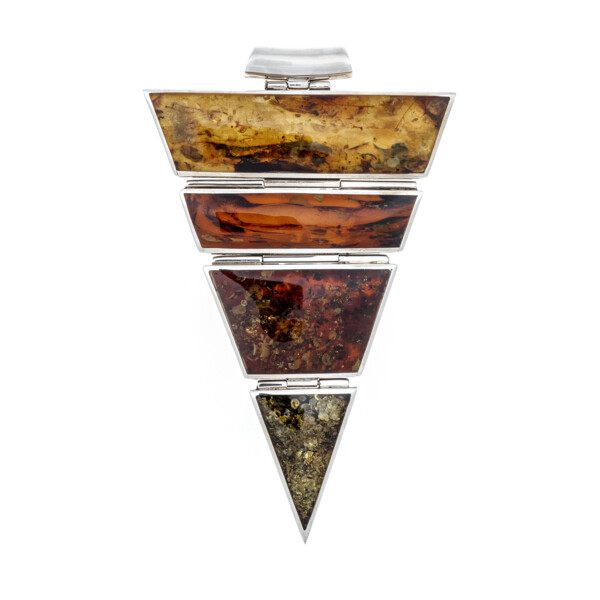 Closeup photo of Multi Color Amber Pendant - Extra Large Triangle On Tube Bail With Classic Quad Colors