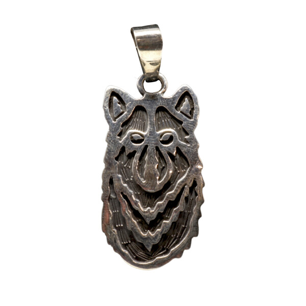 Closeup photo of Sterling Silver Wolf Face Pendant