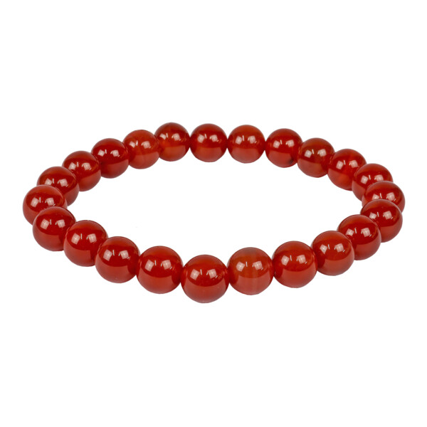 Closeup photo of Red Agate -Carnelian 8mm Bracelet
