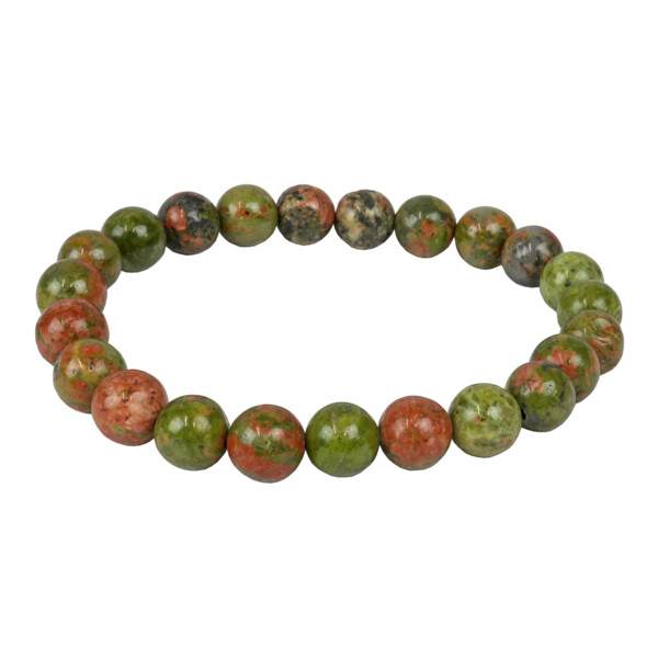 Closeup photo of Unakite 8mm Bracelet