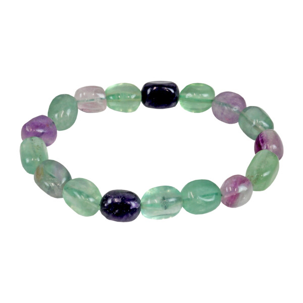 Closeup photo of Rainbow Fluorite Bracelet Tiny Tumbled