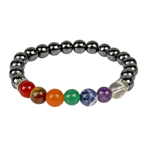 Closeup photo of Hematite & 7 Chakra Bracelet 8mm With Tigers Eye