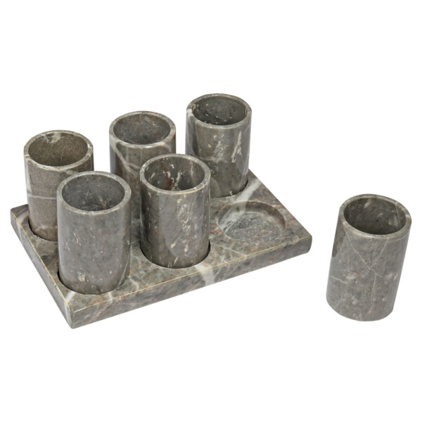 Closeup photo of Double-shot Gray Marble Tequila Set Of 6 With Fitted Tray Solo