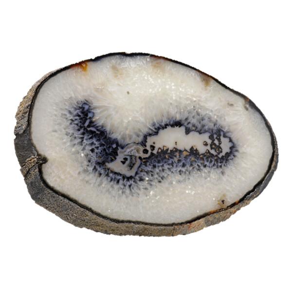 Closeup photo of Agate Slice -Oval 1cm With Dark Blues, Carnelian & Acrylic Stand
