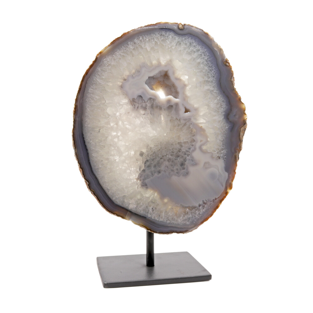 Agate Slice -Gray With Druze On Post Stand