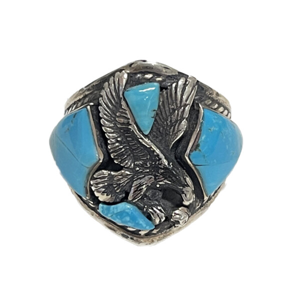 Closeup photo of AZ Turquoise Eagle Ring -Asymmetrical Triangle Cabochons With Oxidized Silver Stamped Bezel Sz11