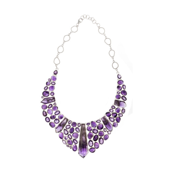 Closeup photo of Amethyst Collar Necklace Set -Bahia Crystals with Faceted & Nugget Cabs