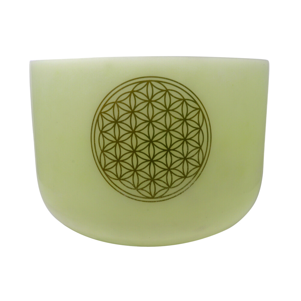 "Image 2 for 14"" Gem Infused Quartz Singing Bowl With 24k Flower Of Life Note E Malachite"