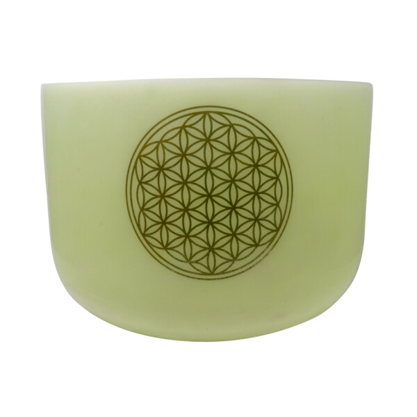 "Closeup photo of 14"" Gem Infused Quartz Singing Bowl With 24k Flower Of Life Note E Malachite"