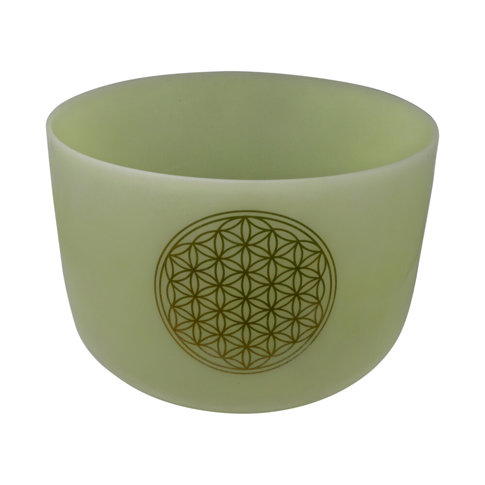 "14"" Gem Infused Quartz Singing Bowl With 24k Flower Of Life Note E Malachite"