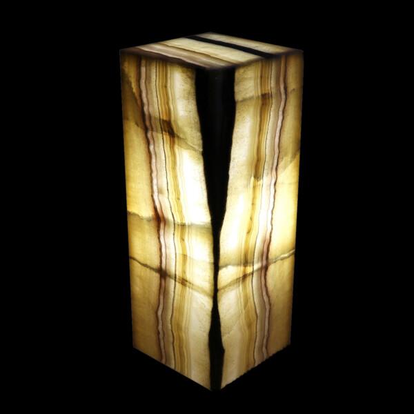 Closeup photo of Zebra Onyx Luminary Pedestal