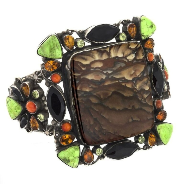 Closeup photo of Leo Feeney Picture Jasper Cuff -Clouds With Onyx, Green Turquoise, Citrine, Peridot & Spiny Oyster