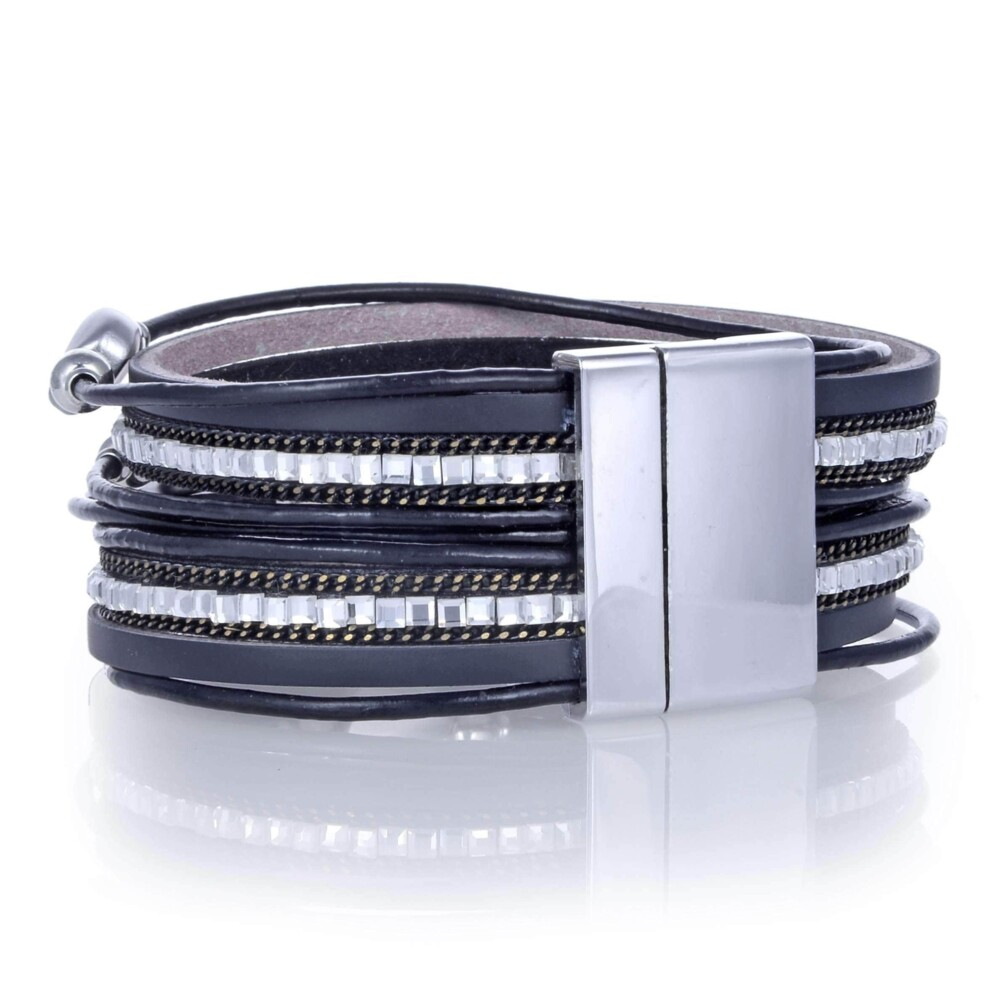 Pebble Beads & Black Leather Double Wrap Bracelet With Magnetic Clasp