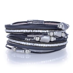 Closeup photo of Pebble Beads & Black Leather Double Wrap Bracelet With Magnetic Clasp