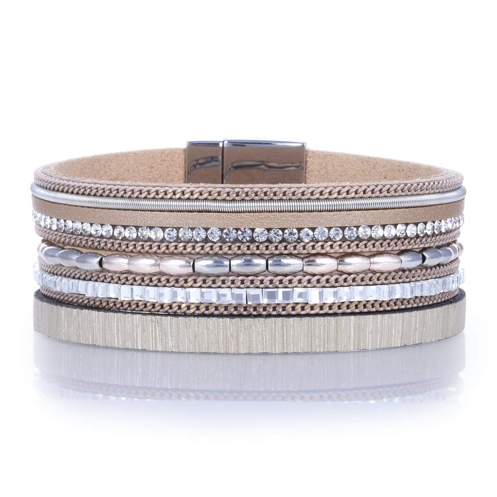 Metallic Beads & Brown Leather Multiple Wrap Bracelet With Magnetic Clasp