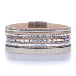 Closeup photo of Metallic Beads & Brown Leather Multiple Wrap Bracelet With Magnetic Clasp