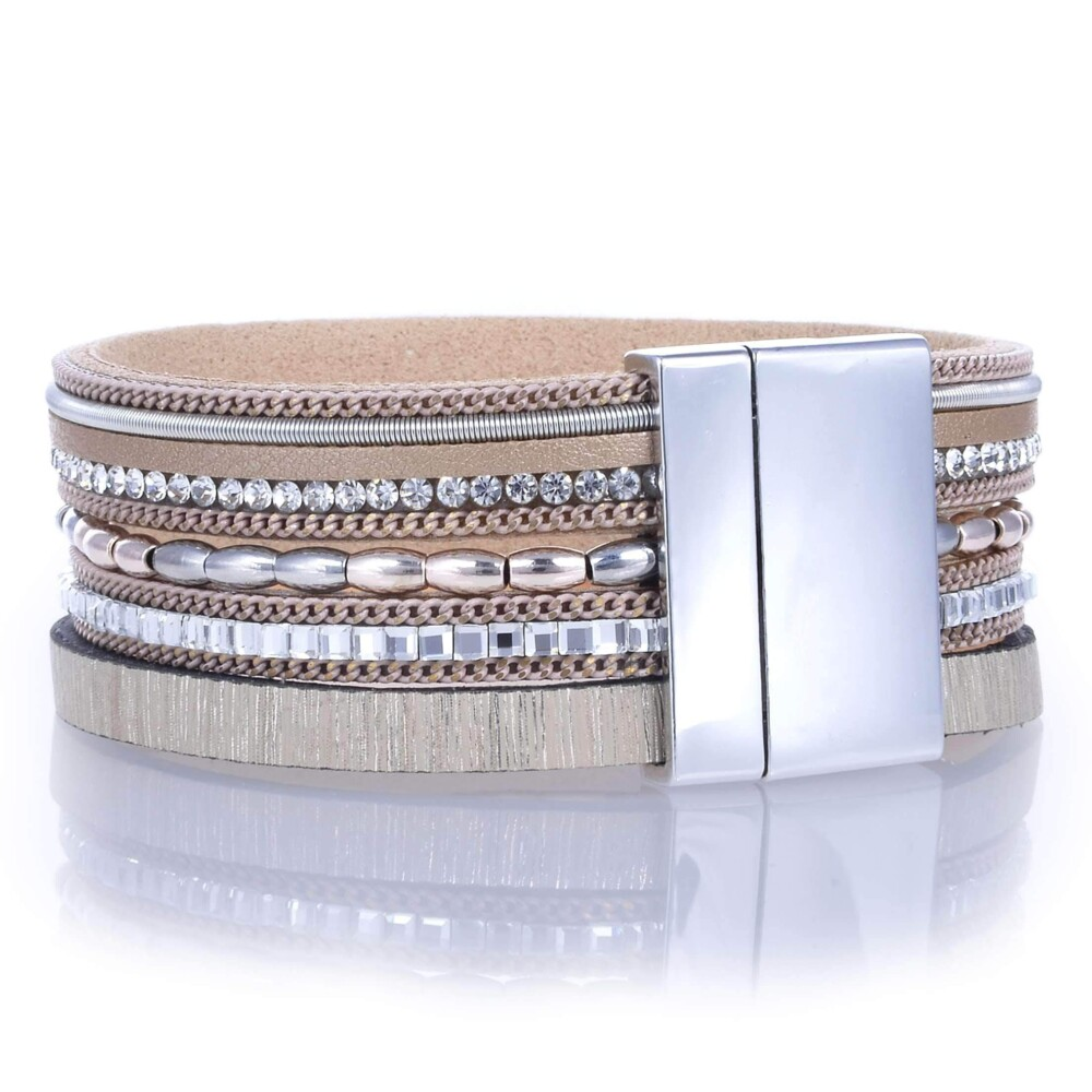 Image 3 for Metallic Beads & Brown Leather Multiple Wrap Bracelet With Magnetic Clasp