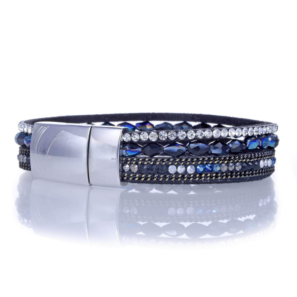 Navy Briolette Gemstone Beads & Black Leather Multiple Wrap Bracelet With Magnetic Clasp