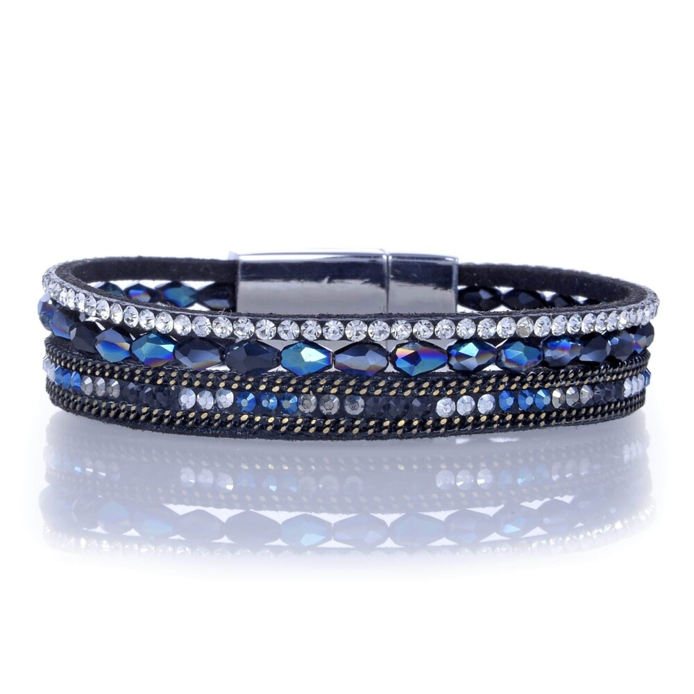 Image 2 for Navy Briolette Gemstone Beads & Black Leather Multiple Wrap Bracelet With Magnetic Clasp