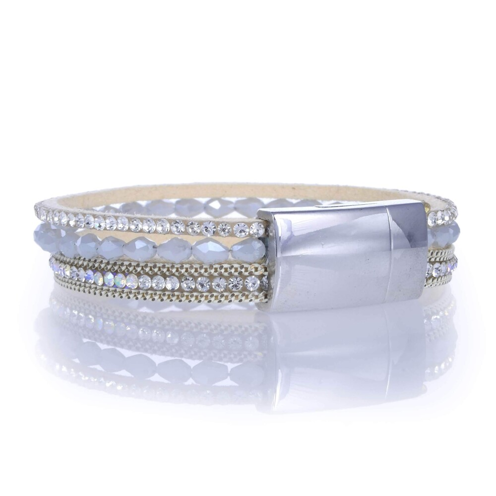 Image 2 for Opalescent Briolette Gemstone Beads & White Leather Multiple Wrap Bracelet With Magnetic Clasp