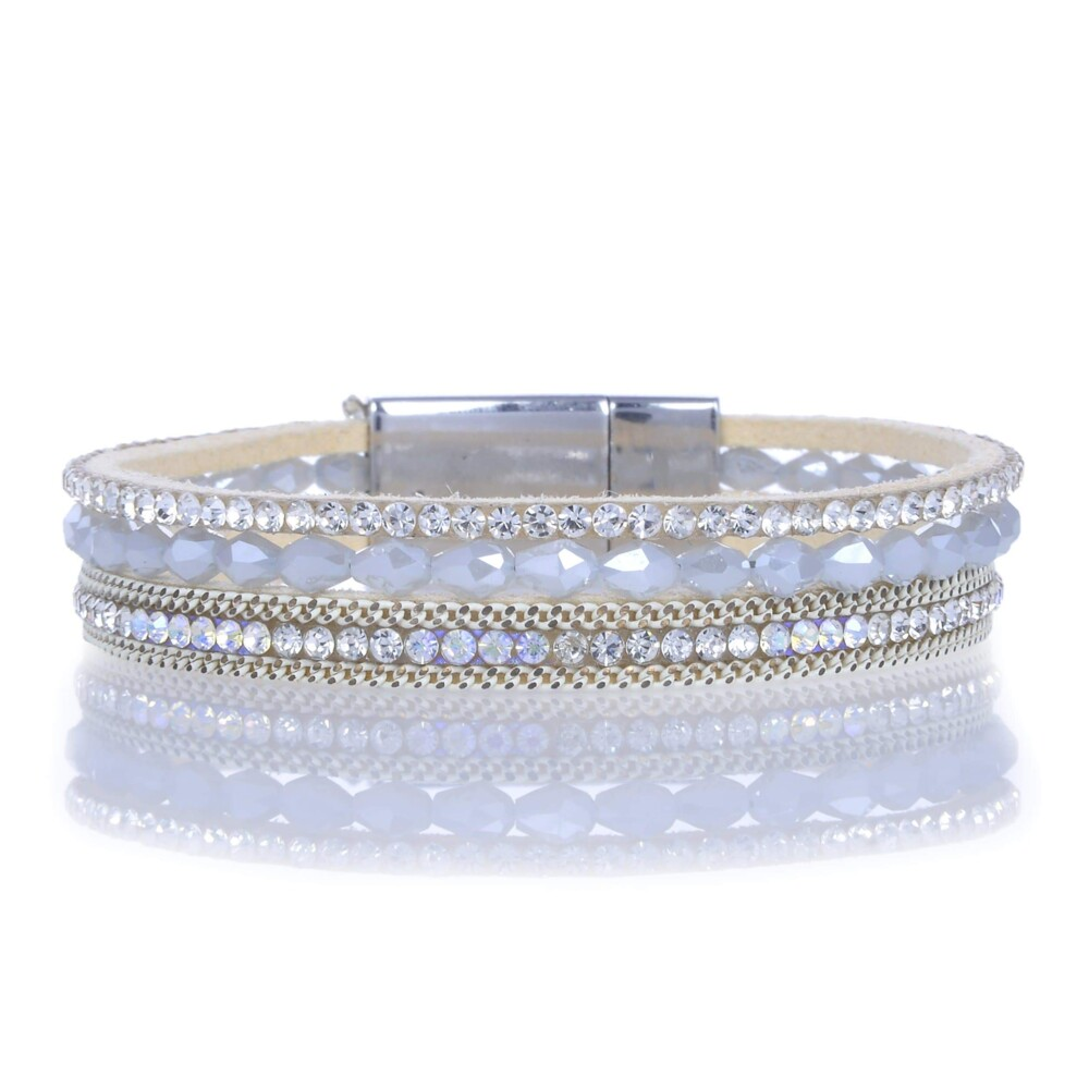 Opalescent Briolette Gemstone Beads & White Leather Multiple Wrap Bracelet With Magnetic Clasp