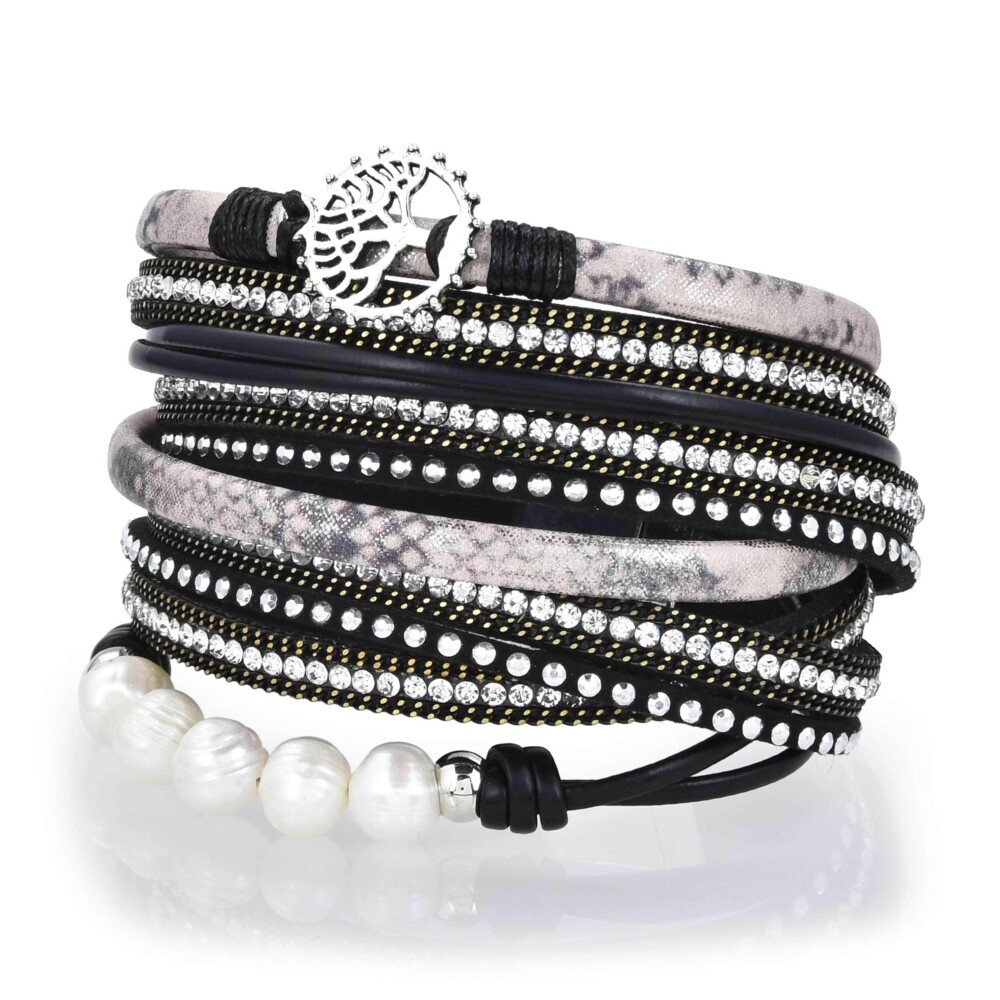 Tree Of Life Design Black Leather & Pearls Double Wrap Bracelet With Magnetic Clasp