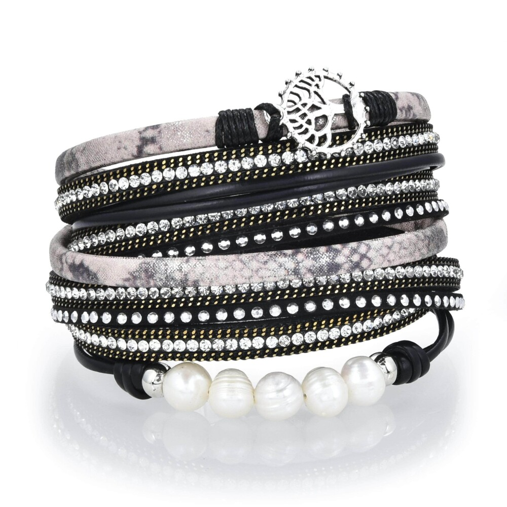 Image 2 for Tree Of Life Design Black Leather & Pearls Double Wrap Bracelet With Magnetic Clasp