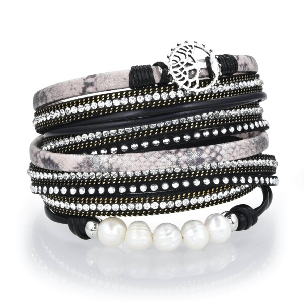 Closeup photo of Tree Of Life Design Black Leather & Pearls Double Wrap Bracelet With Magnetic Clasp