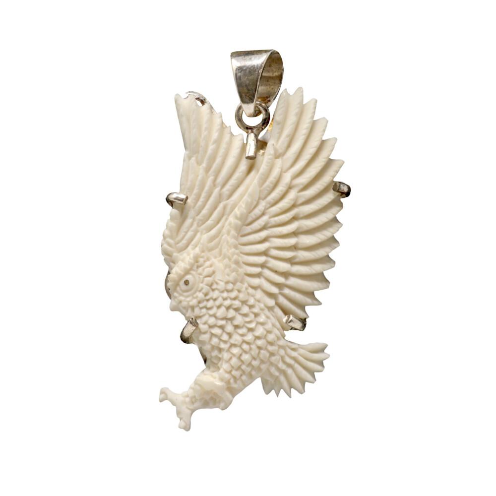 Carved Bone Owl Pendant -Bovine