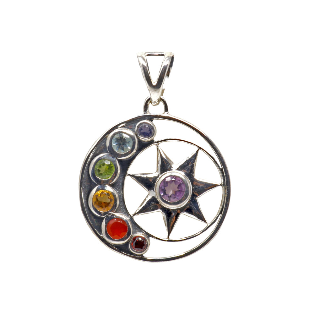 7 Chakra Pendant - Faceted Rounds On Silver Sun & Moon Pendant