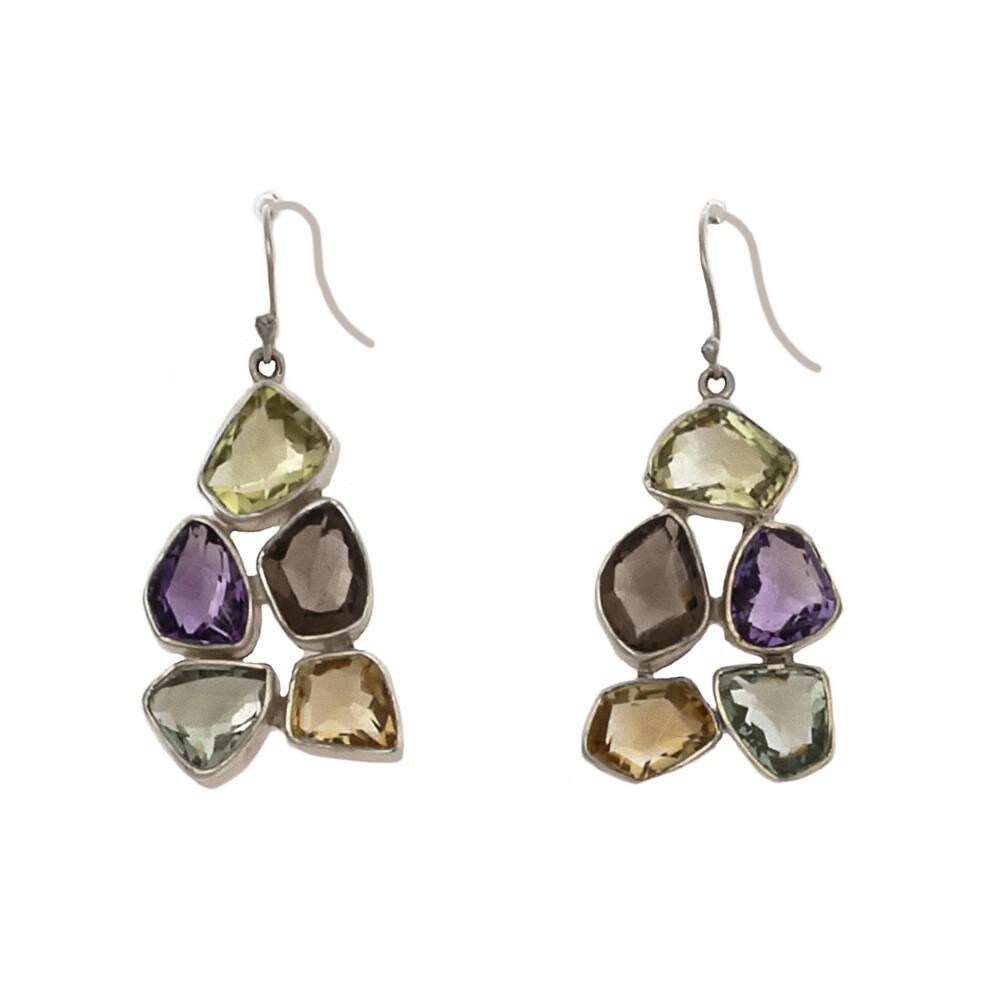 Multi Gemstone Earrings -5 Rose Faceted