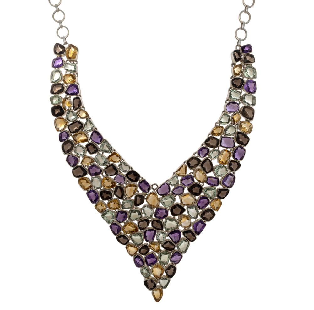 Multi Gemstone Necklace V Collar