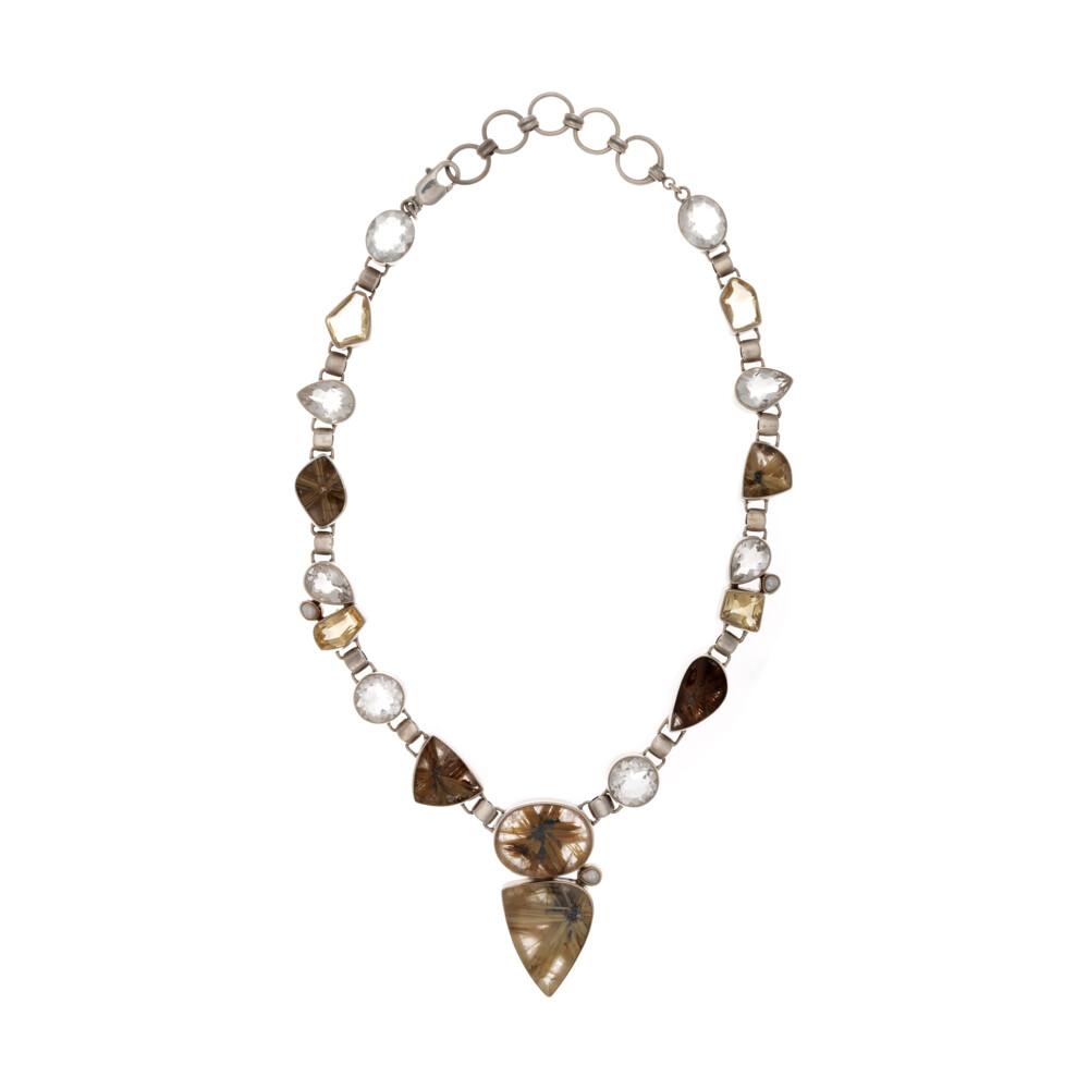 Golden Rutile Quartz Necklace With Quartz & Pearl