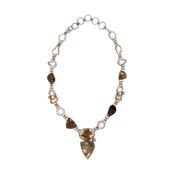 Closeup photo of Golden Rutile Quartz Necklace With Quartz & Pearl