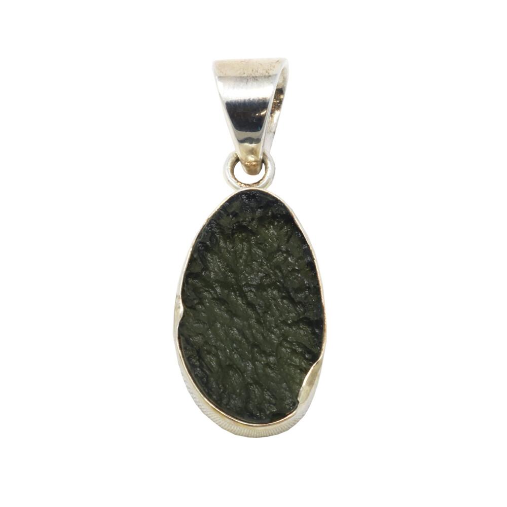 Moldavite Pendant - Simple Unpolished Oval With Silver Bezel