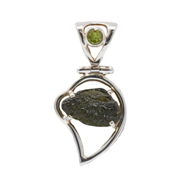 Closeup photo of Moldavite Pendant - Prong Set Nugget Hinged On Silver Leaf With Faceted Peridot On Cutout Bail