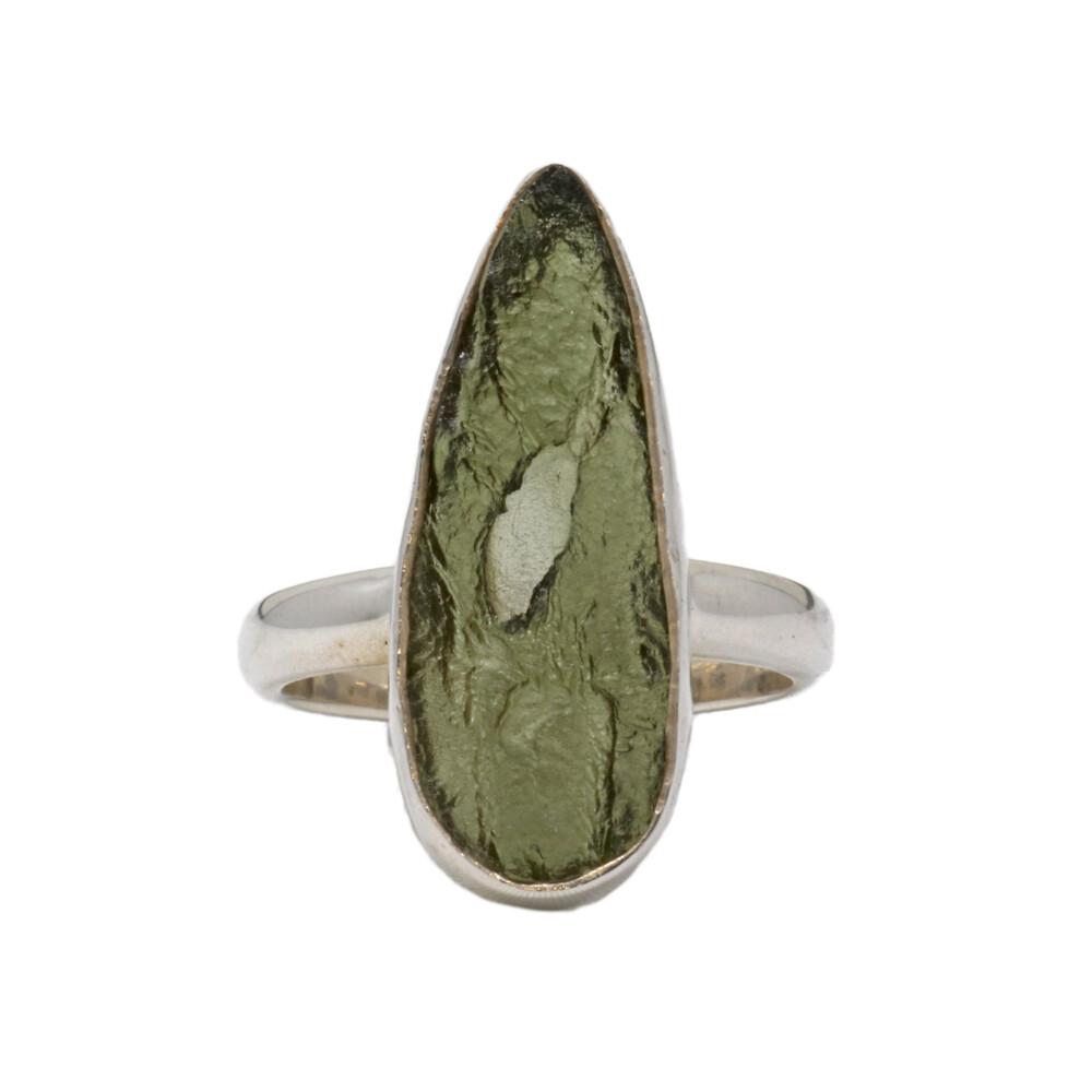 Moldavite Ring - Unpolished Elongated Pear With Silver Bezel Size 9