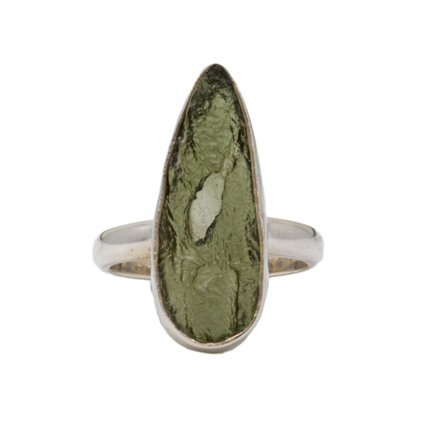 Closeup photo of Moldavite Ring - Unpolished Elongated Pear With Silver Bezel Size 9