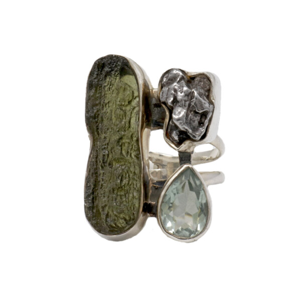 Closeup photo of Moldavite Ring - Elongated Unpolished Oval With Raw Meteorite & Faceted Prasiolite Pear On Double Band Sz7
