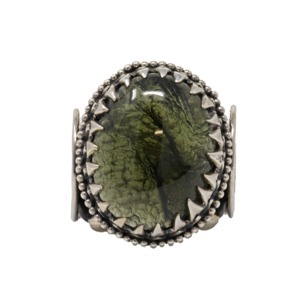 Closeup photo of Moldavite Ring On Spirallo Band Size 11.5