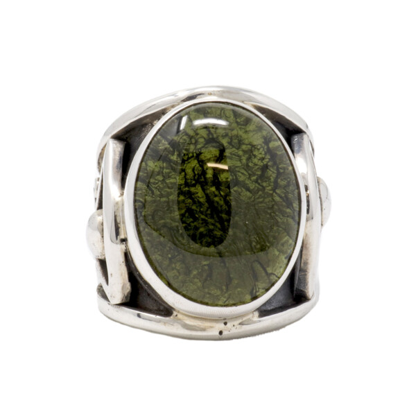 Closeup photo of Moldavite Ring -Cabochon On Eye Of Horus Band Size 9.5