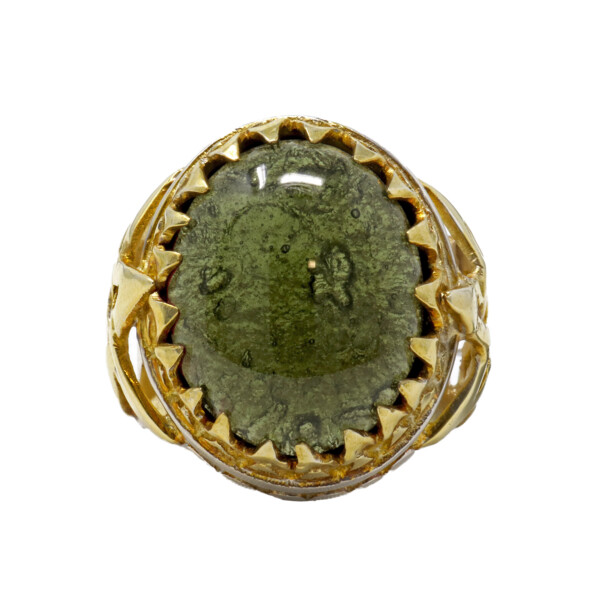 Closeup photo of Moldavite Ring -Cabochon In Star Band With 22k Overlay