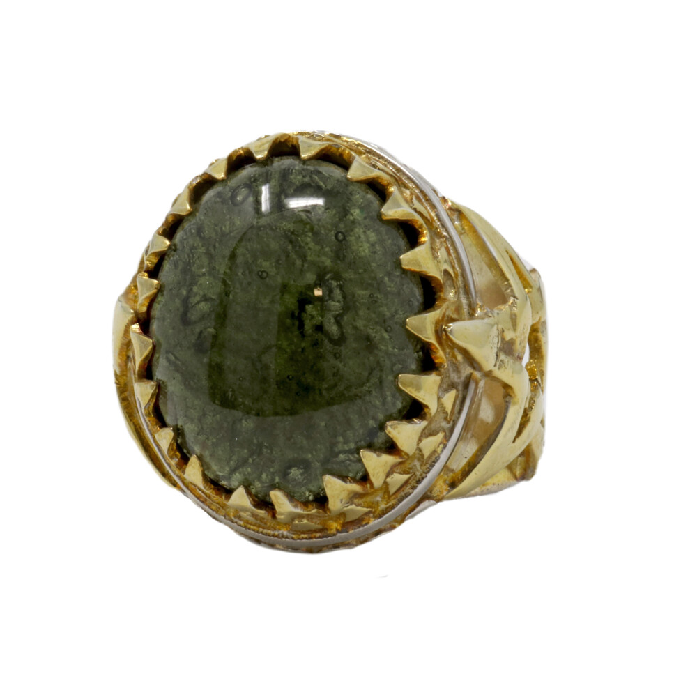 Moldavite Ring -Cabochon In Star Band With 22k Overlay size 9