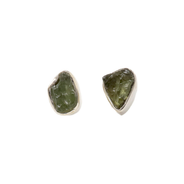 Closeup photo of Moldavite Nugget Stud Earrings -Bezel