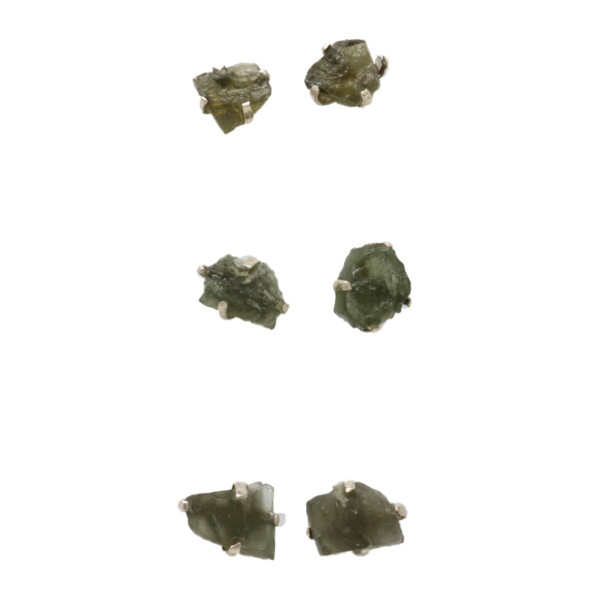Closeup photo of Moldavite Stud Earrings Prong