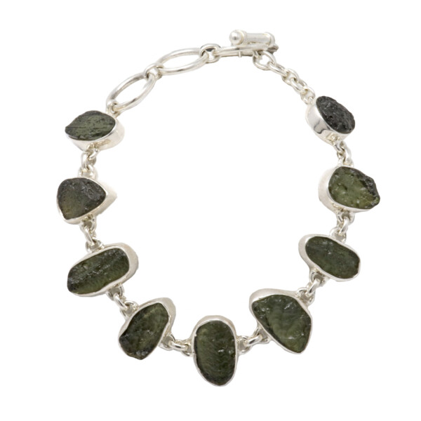 Closeup photo of Moldavite Link Bracelet - 9 Unpolished Geometric Stones With Silver Bezels & Toggle Clasp